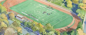 An artist's rendering of WPI's future athletic field and press box.