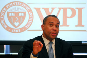 Gov. Deval Patrick speaks on April 17 at WPI's Life Sciences and Bioengineering Center at Gateway Park about housing improvements and neighborhood revitalization in the city of Worcester. (Ed Collier photo)