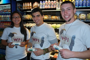 From Left, WPI seniors Diana Nguyen, Rodrigo Calles, and Joseph Botelho