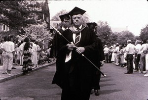 As honorary marshal, Grogan leads the Commencement procession in 1962.