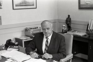Grogan in the office in Boynton Hall from which he led the implementation of the WPI Plan.
