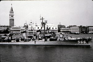 The destroyer U.S.S. Stoddard, which Grogan served aboard during the Korean War, in Venice.