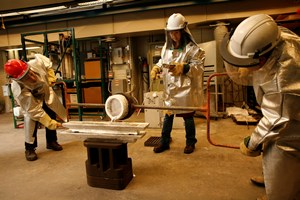 Researchers in the Aluminum Casting Research Center, part of WPI's Metal Processing Institute