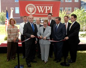 Cutting the ribbon to officially open the new WPI Life Sciences and Bioengineering Center (LSBC) at Gateway Park.