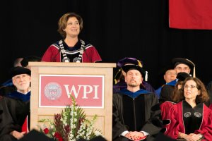 In her remarks, President Leshin said WPI's first-ever graduate Commencement comes at 'a critical and important moment in our history.'