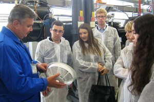 WPI students tour a facility in Moscow.