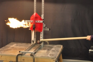 A gas can explodes in WPI's Combustion Lab as a flame is held beneath its spout during the NBC shoot.