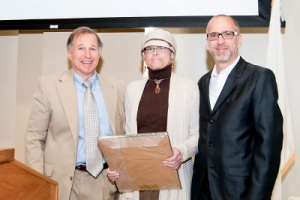 From left, Board Chairman Rubin, Drew, and Rob Krueger, 2011 Nicoletti Award recipient