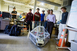 "The WPI/Massachusetts Academy of Mathematics and Sciences team's robot, nicknamed ""Goat-Dactyl,"" is a 132-pound, six-wheeled, remote-controlled vehicle capable of sensor-driven autonomous operations."