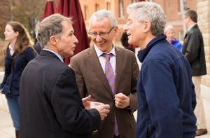 Rubin with, from left, professors Tahar El-Korchi and Mark Richman at the Rubin Campus Center dedication.