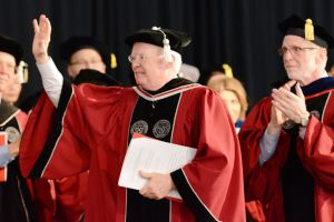 The ceremony also included a brief tribute to Phil Ryan '65, who is retiring after 17 years on the WPI Board of Trustees, including two as chairman.