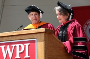 Rubin's wife, Tracy, reads his remarks at Commencement in 2014.