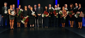 Slovenian President President Borut Pahor, center, with honorees at the national awards ceremony in Maribor; Prof. Dominko is second from the left.