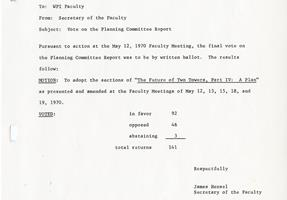 A record of the 1970 faculty vote approving the Plan.
