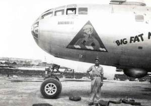 Wagner with the B-29 on which he served as a flight engineering officer during World War II.