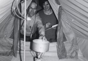 Wagner, left, and Joseph Kohler study carbon monoxide emissions from camp stoves.