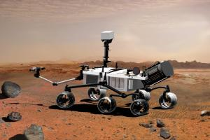 Artist rendering of NASA's Curiosity rover, set to begin exploring Mars in August. The SRR Challenge will help develop technology for future rovers.