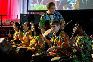 The WPI African Percussion Ensemble played the recessional for the inaugural ceremony.