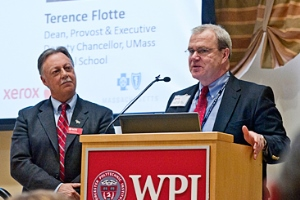 WPI Provost Eric Overstrom, left, and Terence R. Flotte, MD, UMMS executive deputy chancellor, provost, and dean of the School of Medicine