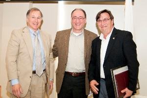 From left, WPI Board Chairman Rubin, Kaveh Pahlavan, 2011 Researcher of the Year, and Argüello