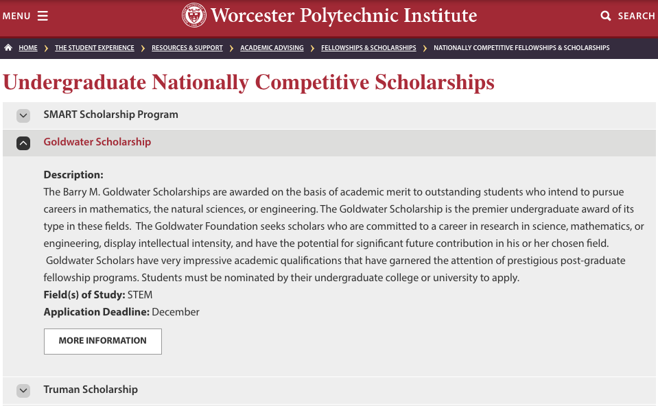 Nationally Competitive Scholarships Screenshot