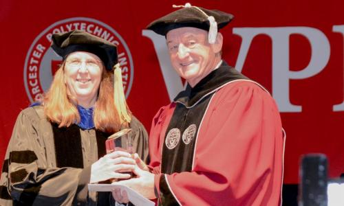 Diane Strong received the 2017 Chairman's Exemplary Faculty Prize from Board Chairman Jack Mollen alt