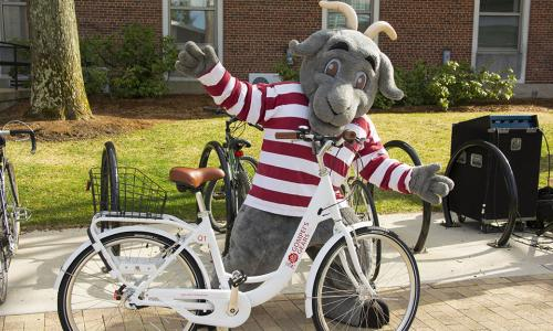 """Gompei the Goat poses behind a white bike with """"Gompei's Gears"""" written on it in red lettering."""