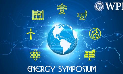 """WPI"" is written in white type at the top right of the photo, and ""Energy Symposium"" at the bottom. In the middle is a photo of the globe with green electricity icons surrounding it."