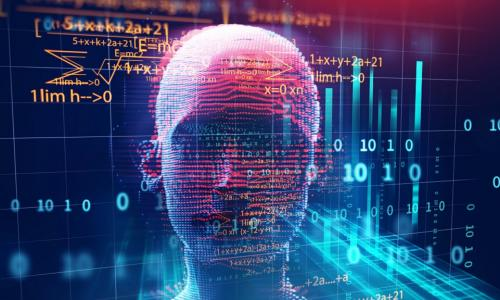 A stock photo of a head made up of a variety of coding numbers and letters, as well as different math equations. The background is blue, and letters and numbers are orange and red.