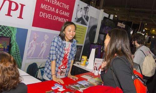 WPI student at trade show