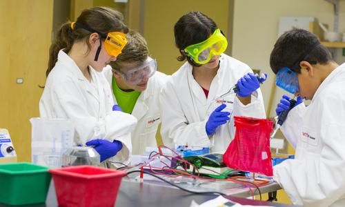 Young students compete an experiment in a lab while wearing the proper safety attire.