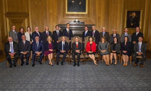 WPI alumni and newest members of the Supreme Court Bar gather for a photo.