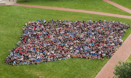 The Class of 2022 sits together on the Quad as an aerial photo is taken.