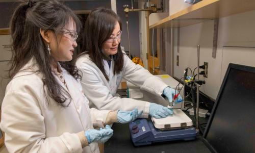 Chemical engineering professor Hong Susan Zhou, right, and PhD candidate Zhiru Zhou prepare a prototype of an electrochemical sensor that can quickly detect the presence of C. diff bacteria, which causes a potentially deadly gastrointestinal infection. alt