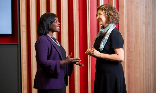 President Laurie Leshin talks with Donna Levin