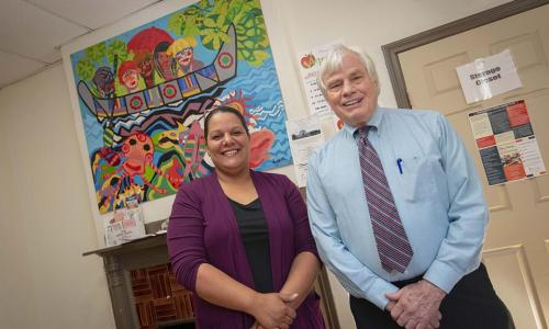 Maria DeJesus, Shelter Director at Friendly House, with Gordon Hargrove, Executive Director alt