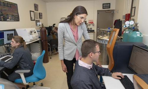 WPI professor Danielle Cote (center) leads a WPI research team that will study cold spray 3D printing techniques. alt