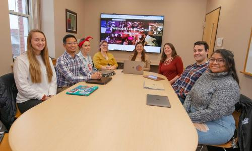 WPI researchers (from left) Hannah Smith, Francisco Castro, Olivia Bogs, Gillian Smith, Ivon Arroyo, Erin Ottmar, Richard Valente and Luisa Perez. alt
