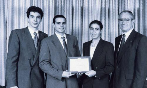 President Strauss with President's IQP Award co-winners (circa 1980). alt