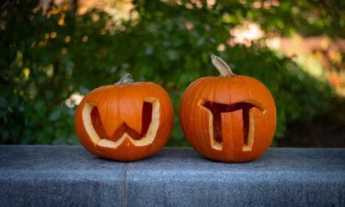 Two pumpkins sit side by side, one with a W and one with a pi symbol carved in them.