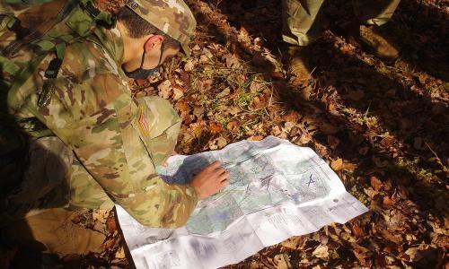 Cadet Omar Ayoub reads a map alt