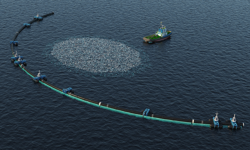Hundreds of ships collect marine plastics from the ocean, and head back to port to refuel. Breaking down plastics into biofuels can help minimize the number of trips these ships make. alt