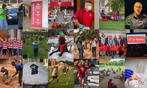 A collage of photos taken around campus during 2020.